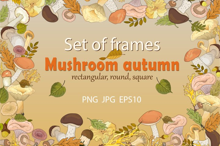 Set of autumn frames with forest mushrooms.