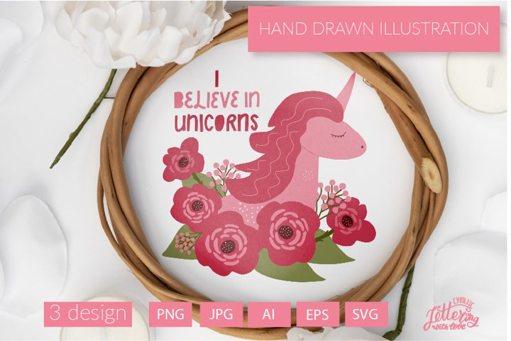 Pink Unicorn face with red roses hand drawn illustration
