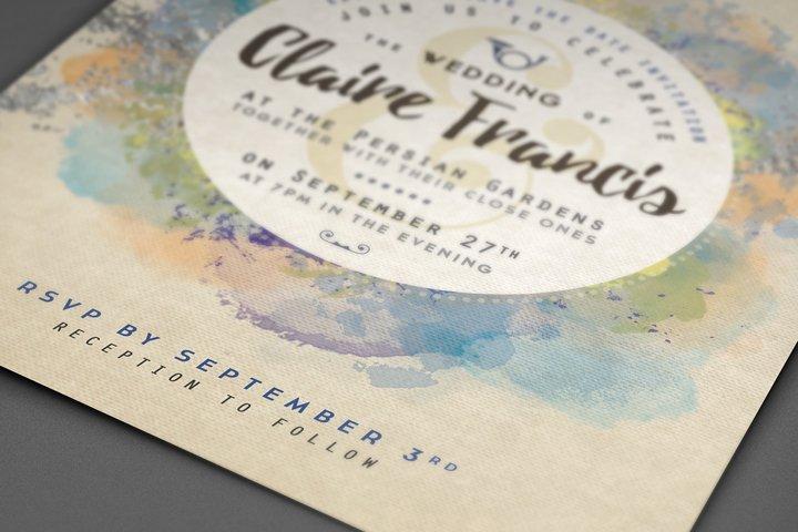 Pure Silver Watercolor Wedding Card example 6