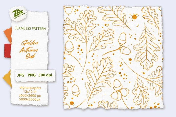 Seamless Watercolor Golden Pattern Autumn Oak leaves & acorn