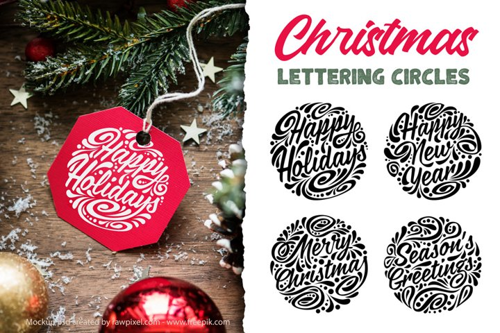 Christmas Lettering Circles
