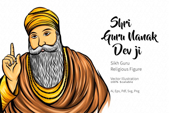 Shri Guru Nanak Dev Ji Vector Illustration