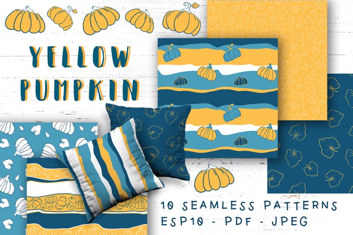 Orange Pumpkin Vector Seamless Pattern Set