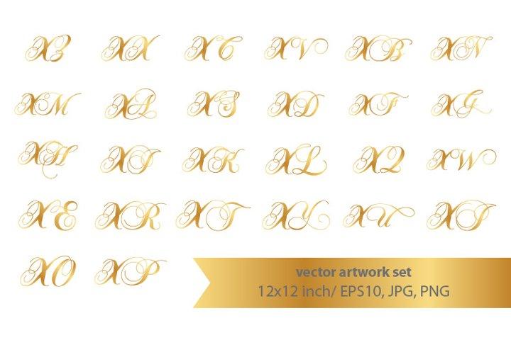 Calligraphic golden monogram set, letter x
