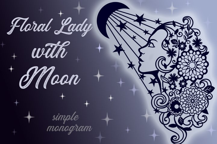 Floral Lady with Moon SVG cut files