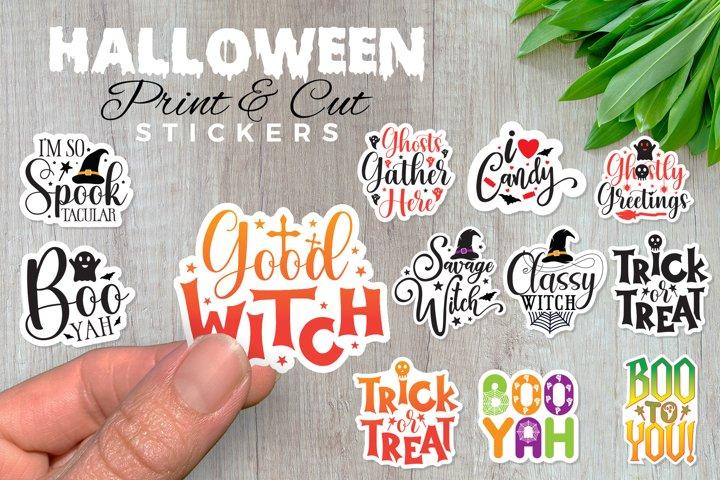 Halloween Stickers, Print And Cut, Clip Art, Sticker Set PNG