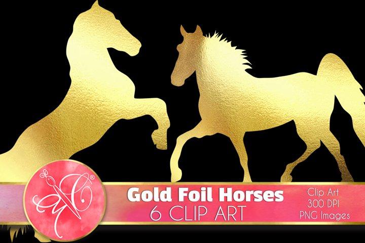 Gold Foil Horses Clip Art /Scrapbook, Overlays, Element