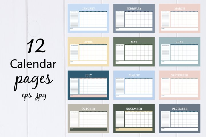 Calendar page, planners A4 size, printable digital set