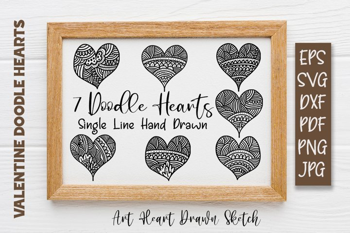 7 Mandala Doodles Heart Single line Sketch Design