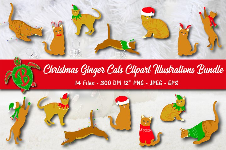 Christmas Ginger Cats Clipart Illustrations Bundle