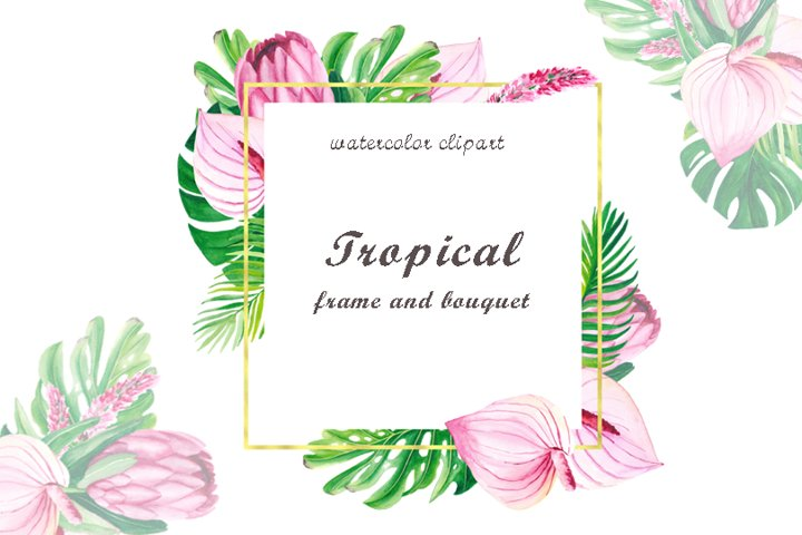 Watercolor tropical gold geometrical frame clipart