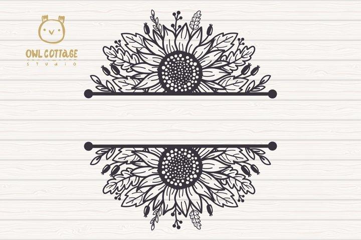 Sunflowers Split Border Monograms Set svg, floral monograms example 1
