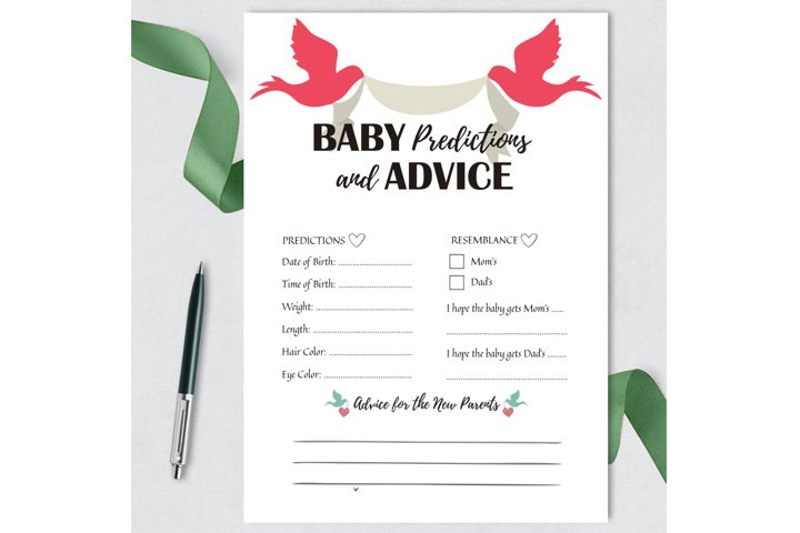 Baby Shower Games Printable, Baby Predictions and Advice