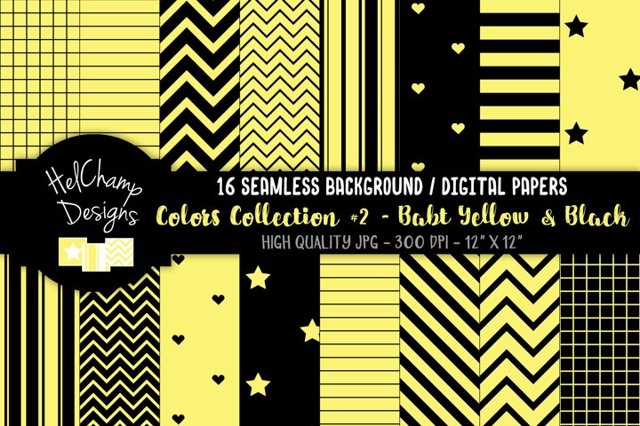 16 seamless Digital Papers - Baby Yellow and Black HC158