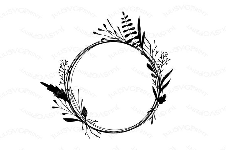 Floral Wreath svg, Wire Frame SVG, Floral Frame png