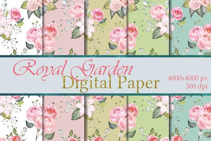 Royal Garden Floral Digital Paper Seamless pattern