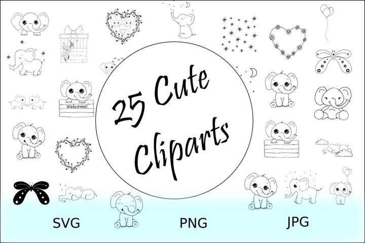 Cute Animals Collection - Elephant Clipart Outline