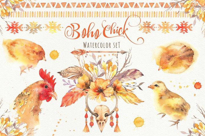 Boho Chick Watercolor Cliparts