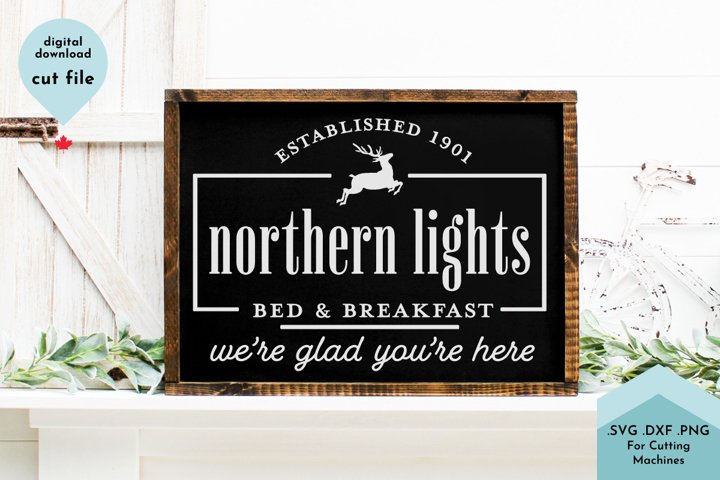 Vintage Christmas Sign svg, Bed and Breakfast