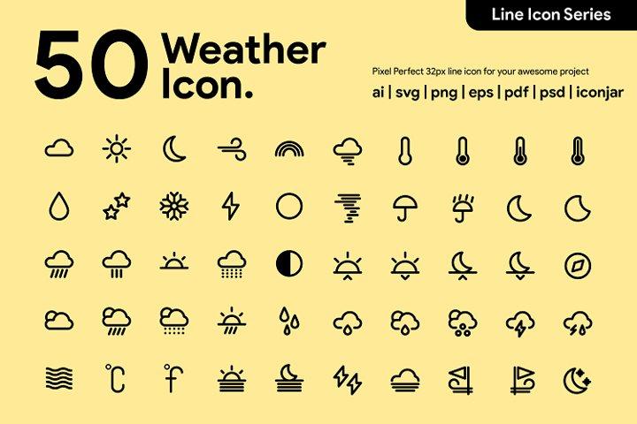 50 Weather Line Icon