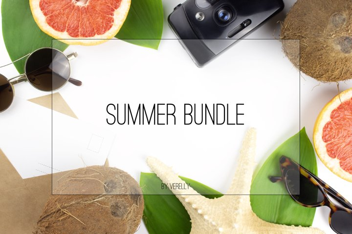 Summer bundle. Flat lay with coconuts, sunglasses, leaves.