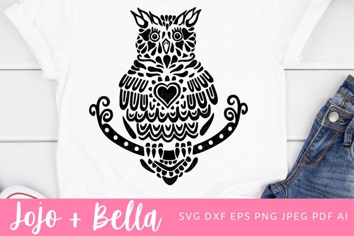 Zentangle Owl Svg | Mandala SVG| Owl SVG