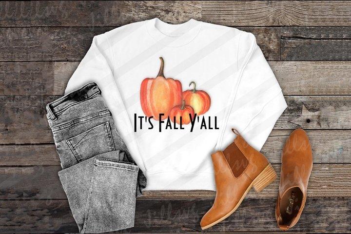 Its fall yall png Watercolor Pumpkin clipart Halloween png