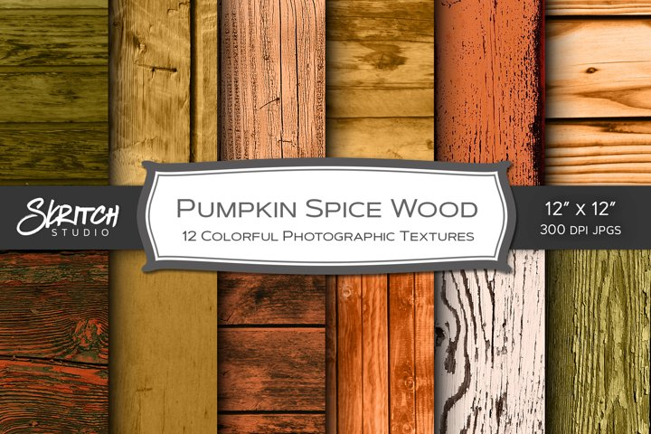 Pumpkin Spice Wood - 12 Colorful Photographic Textures