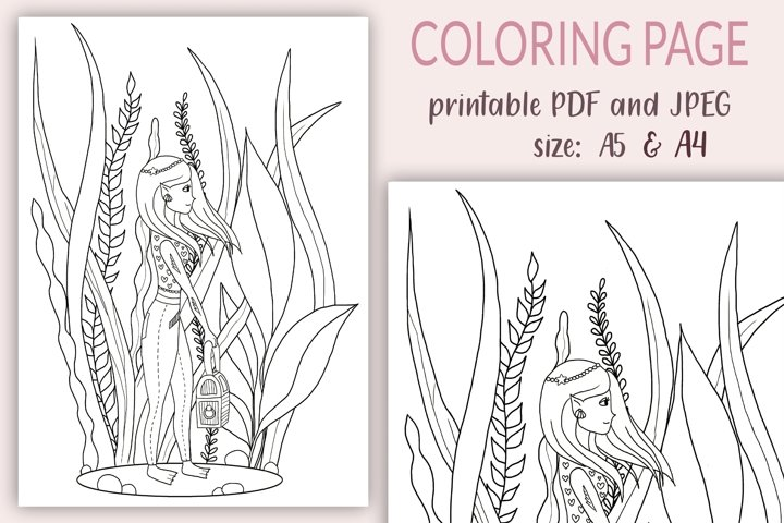 A4 Coloring Pages for Kids, Underwater Girl coloring page