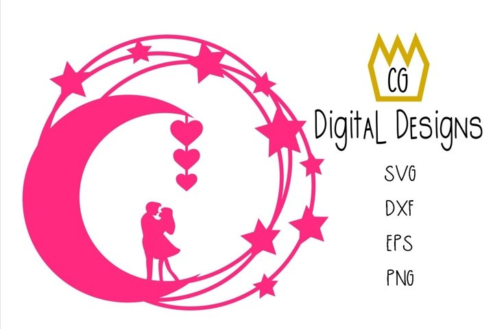 Valentine anniversary wedding Couple on a moon - SVG DXF EPS