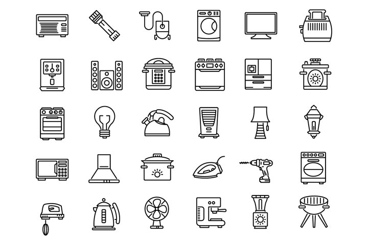 Household devices and appliance outline icons set