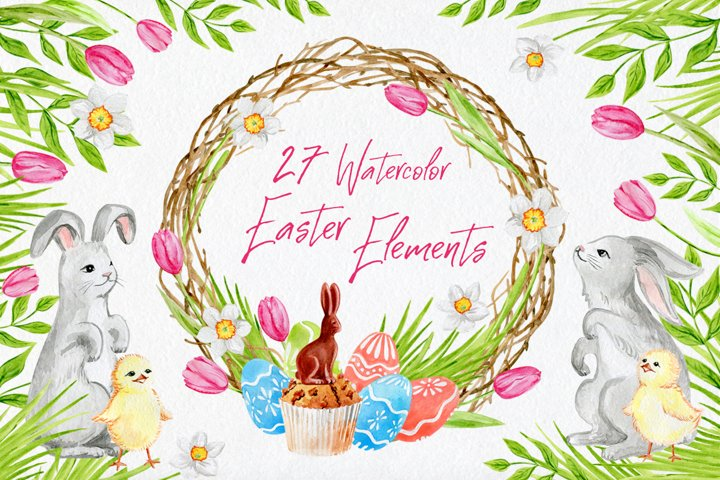 Watercolor Easter elements|PSD PNG JPEG