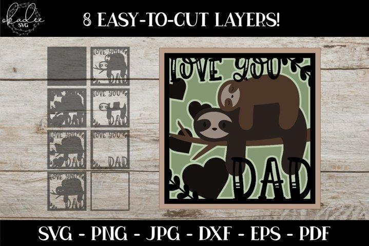 Fathers Day SVG, 3D Sloth Mandala, Shadowbox SVG