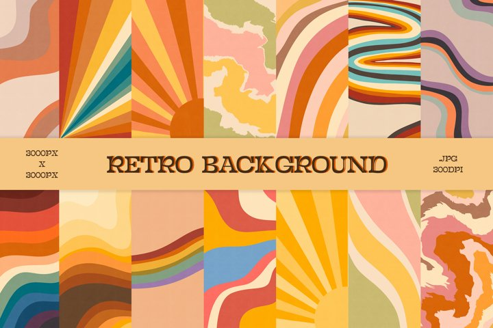 Retro background, Retro Digital Ppaper, 70s background