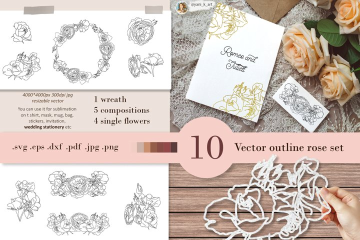 Rose svg outline bundle for handcraft design eps pdf png jpg