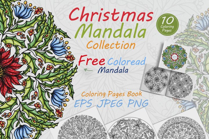 Christmas mandala collection for coloring. 10 coloring pages