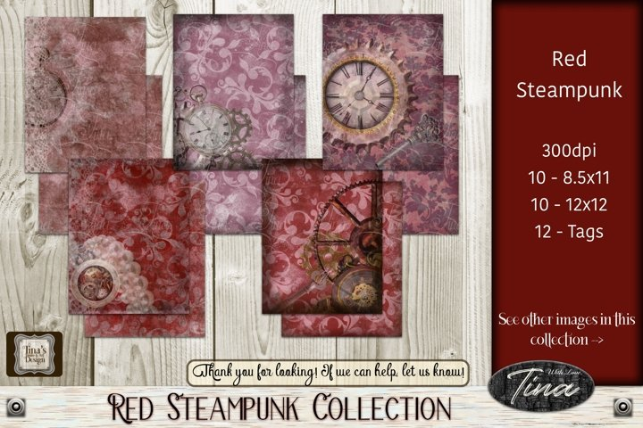 Red Steampunk Gears Clocks Pearls Keys Antique Grunge