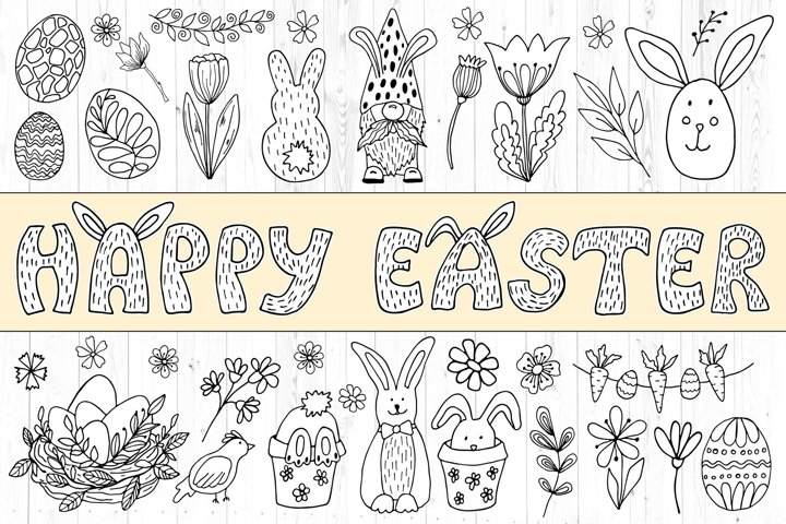 Black And White Easter Clipart - Spring Doodles Line Drawing
