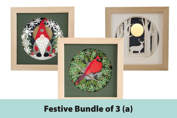 Festive Shadow Box 3D Papercut Template Bundle A