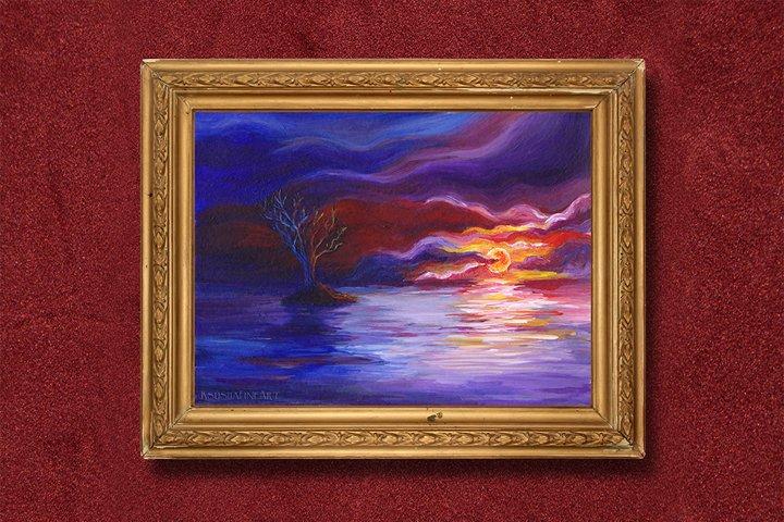 Printable Wall Art - Fantasy tree on sunset, digital artwork