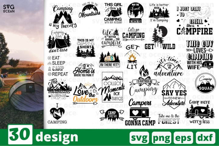 30 Camping SVG bundle, camping cut files, mountains quotes