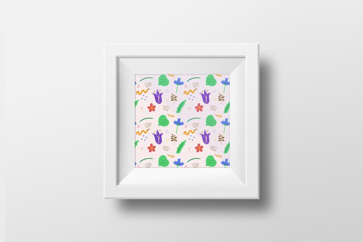 Pattern Summer meadow. Hand draw abstract floral pattern.