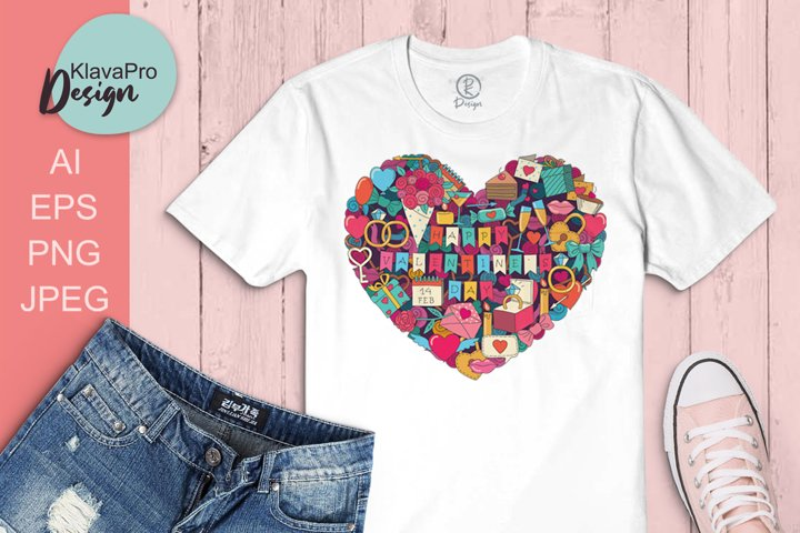 Valentines Day Heart sublimation design