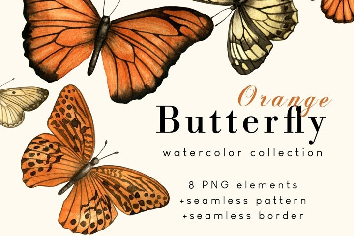 Orange Butterfly Watercolor collection
