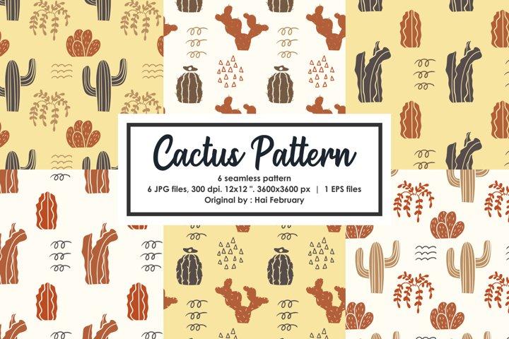 Yellow Cactus Pattern Seamless Pattern