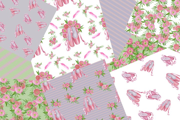 Floral Ballet Shoes Digital Papers Set example 3