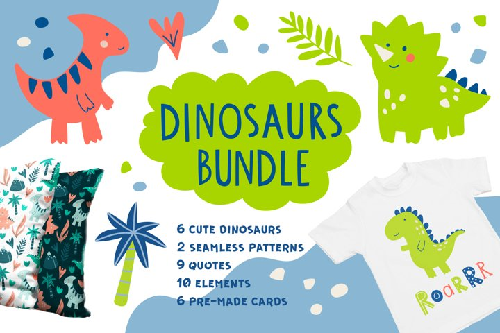 Cute Dinosaur Illustration Bundle. Lettering And Patterns