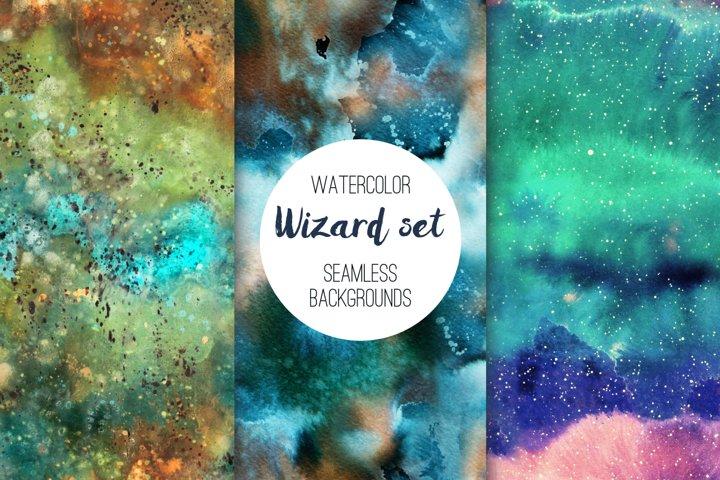 Wizard set. Watercolor seamless patterns