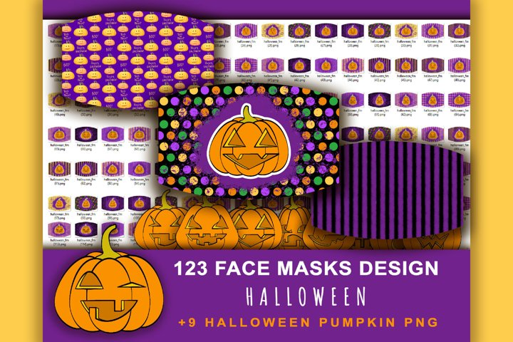 123 Halloween Face Mask Designs. Pumpkin Sublimation design