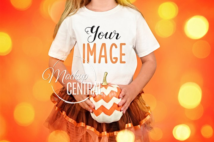 Child Wearing Blank Halloween T-Shirt Fall Shirt Mockup JPG